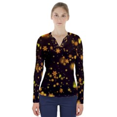 Background Black Blur Colorful V Neck Long Sleeve Top by Pakrebo