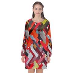 Maze Mazes Fabric Fabrics Color Long Sleeve Chiffon Shift Dress  by Pakrebo