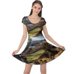 Landscape Quairaing Scotland Cap Sleeve Dress by Pakrebo