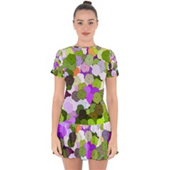Art Flower Flowers Fabric Fabrics Drop Hem Mini Chiffon Dress