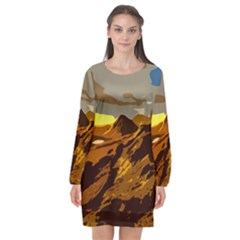 Scotland Monti Mountains Mountain Long Sleeve Chiffon Shift Dress