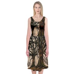 Ent Treant Trees Tree Bark Barks Midi Sleeveless Dress