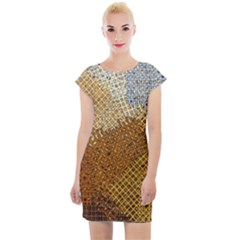 Color Colors Abstract Yellow Brown Cap Sleeve Bodycon Dress by Pakrebo