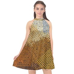 Color Colors Abstract Yellow Brown Halter Neckline Chiffon Dress