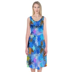 Color Colors Abstract Colorful Midi Sleeveless Dress