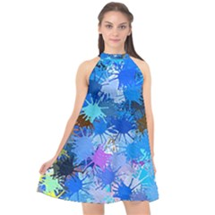 Color Colors Abstract Colorful Halter Neckline Chiffon Dress