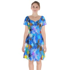 Color Colors Abstract Colorful Short Sleeve Bardot Dress