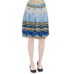 The Landscape Water Blue Painting Pleated Skirt by Pakrebo
