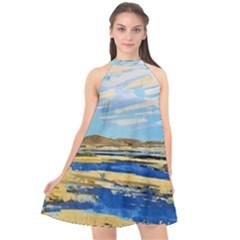 The Landscape Water Blue Painting Halter Neckline Chiffon Dress