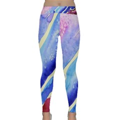 Painting Abstract Blue Pink Spots Classic Yoga Leggings by Pakrebo