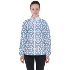 Floral Dot Series - Blue And White High Neck Windbreaker (women) by TimelessFashion