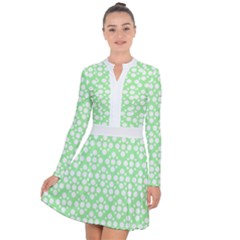 Floral Dot Series   Green And White Long Sleeve Panel Dress by TimelessFashion