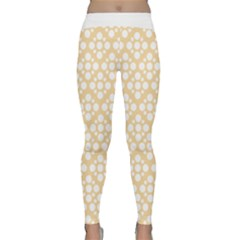 Floral Dot Series - Orange And White Classic Yoga Leggings by TimelessFashion