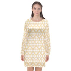Floral Dot Series   Orange And White Long Sleeve Chiffon Shift Dress  by TimelessFashion