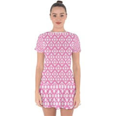 Floral Dot Series   Pink And White Drop Hem Mini Chiffon Dress by TimelessFashion