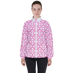 Floral Dot Series - Pink And White High Neck Windbreaker (women) by TimelessFashion