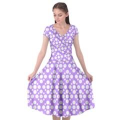 Floral Dot Series   Purple And White Cap Sleeve Wrap Front Dress by TimelessFashion