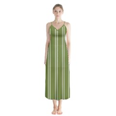Nice Stripes In Olive Green Button Up Chiffon Maxi Dress by TimelessFashion