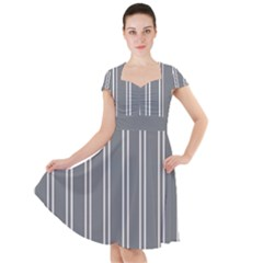 Nice Stripes In Steel Grey Cap Sleeve Midi Dress by TimelessFashion