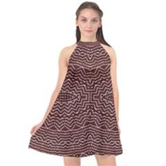 Design Pattern Abstract Desktop Halter Neckline Chiffon Dress