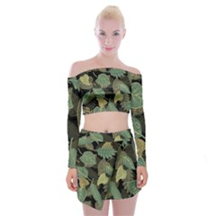 Autumn Fallen Leaves Dried Leaves Off Shoulder Top With Mini Skirt Set by Pakrebo