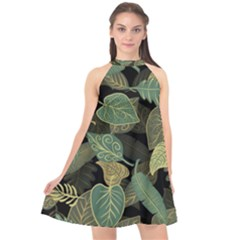 Autumn Fallen Leaves Dried Leaves Halter Neckline Chiffon Dress  by Pakrebo