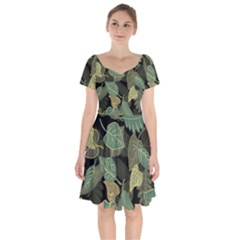 Autumn Fallen Leaves Dried Leaves Short Sleeve Bardot Dress