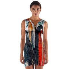 Art Modern Painting Background Wrap Front Bodycon Dress