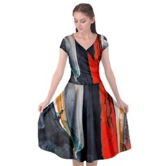 Art Modern Painting Background Cap Sleeve Wrap Front Dress