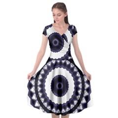 Design Mandala Pattern Circular Cap Sleeve Wrap Front Dress