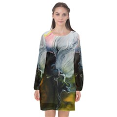 Art Abstract Painting Long Sleeve Chiffon Shift Dress