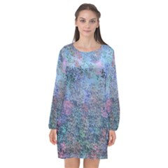 Design Computer Art Abstract Long Sleeve Chiffon Shift Dress