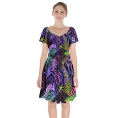 Leaves Nature Design Plant Short Sleeve Bardot Dress by Pakrebo