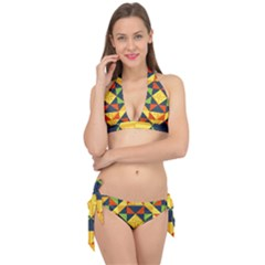 Background Geometric Color Tie It Up Bikini Set