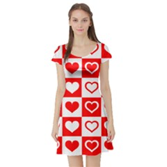 Background Card Checker Chequered Short Sleeve Skater Dress