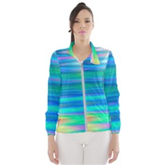 Wave Rainbow Bright Texture Windbreaker (women) by Pakrebo