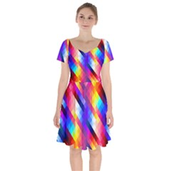 Abstract Background Colorful Pattern Short Sleeve Bardot Dress