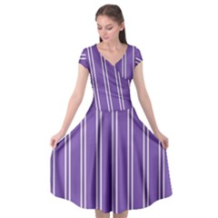Nice Stripes In Royal Purple Cap Sleeve Wrap Front Dress