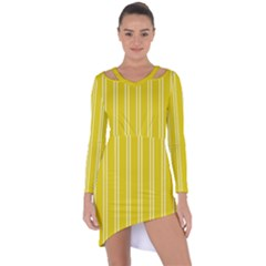 Nice Stripes In Corn Yellow  Asymmetric Cut-out Shift Dress by TimelessFashion