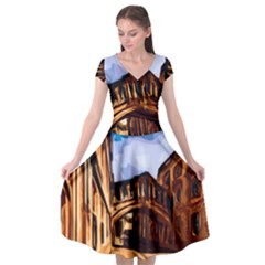 Street Architecture Building Cap Sleeve Wrap Front Dress