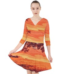 Field Sunset Orange Sky Land Quarter Sleeve Front Wrap Dress
