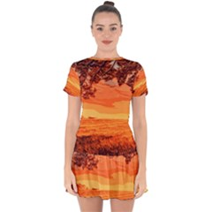 Field Sunset Orange Sky Land Drop Hem Mini Chiffon Dress