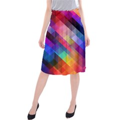 Abstract Background Colorful Pattern Midi Beach Skirt by Pakrebo