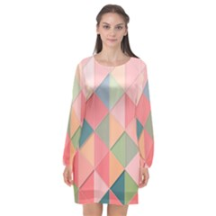 Background Geometric Triangle Long Sleeve Chiffon Shift Dress