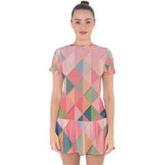 Background Geometric Triangle Drop Hem Mini Chiffon Dress by Pakrebo