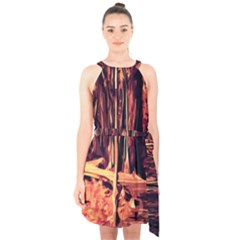 Forest Autumn Trees Trail Road Halter Collar Waist Tie Chiffon Dress by Pakrebo