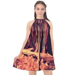 Forest Autumn Trees Trail Road Halter Neckline Chiffon Dress