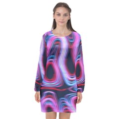Pattern Color Curve Movement Long Sleeve Chiffon Shift Dress