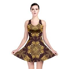 Gold Black Book Cover Ornate Reversible Skater Dress