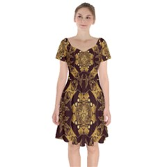 Gold Black Book Cover Ornate Short Sleeve Bardot Dress